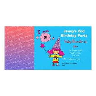 2das invitaciones del fiesta del chica del cumplea tarjeta fotografica