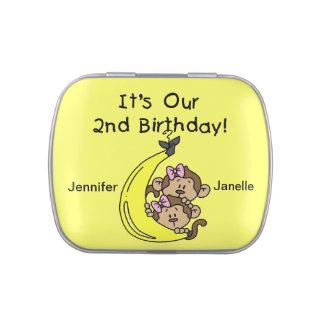 2das latas del caramelo del cumpleaños de los mono jarrones de dulces