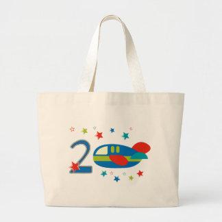 2do Aeroplano del cumpleaños Bolsa Tela Grande