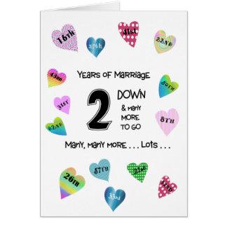2do aniversario de los corazones felices tarjeta de felicitación