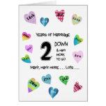 2do aniversario de los corazones felices tarjeton