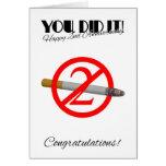 2do Aniversario del abandono que fuma la tarjeta d