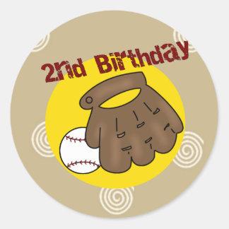 2do Béisbol del cumpleaños Pegatina Redonda