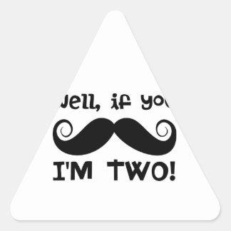 2do Bigote del cumpleaños Pegatinas Trianguladas