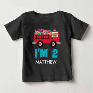 2do Bombero del Firetruck del cumpleaños camisa de