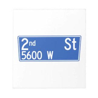 2do Calle, Los Ángeles, placa de calle de CA Blocs De Papel