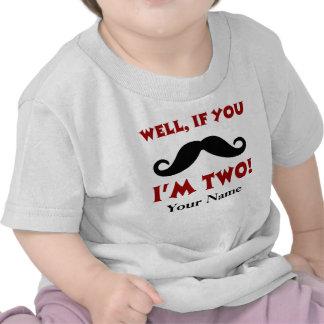 2do Camiseta del bigote del cumpleaños