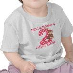 2do Camiseta personalizada chica del mono del cump