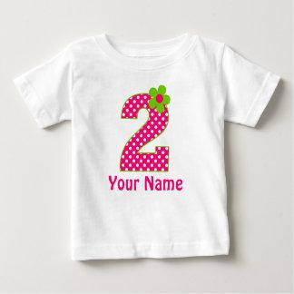 2do Camiseta verde y rosada del cumpleaños del Camisas