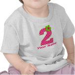 2do Camiseta verde y rosada del cumpleaños del pun