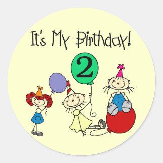 2do Camisetas y regalos del cumpleaños del fiesta Pegatinas