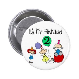 2do Camisetas y regalos del cumpleaños del fiesta Pin Redondo De 2 Pulgadas