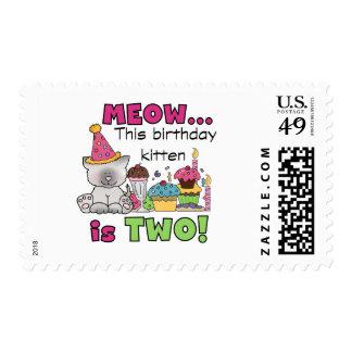 2do Camisetas y regalos del cumpleaños del gatito Sellos