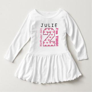 2do Chica del cumpleaños corazones V01J de un rosa Vestido