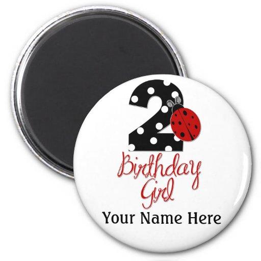 2do Chica del cumpleaños - mariquita - 2 señora Bu Iman De Frigorífico