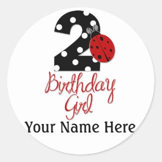 2do Chica del cumpleaños - mariquita - 2 señora Bu Etiqueta Redonda