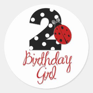 2do Chica del cumpleaños - mariquita - 2 señora Bu Pegatinas