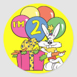 2do Conejo del cumpleaños Etiquetas Redondas