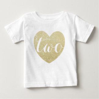 2do Corazón-Impresión del brillo de la niña del Playera Para Bebé