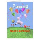 2do cordero y globos felices del cumpleaños felicitacion