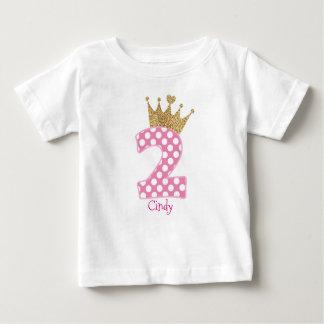 2do Corona de Birthday|Polka Dots|Glitter-Print Playera De Bebé