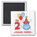 2do cumpleaños de la cara azul del hipopótamo imán de frigorífico