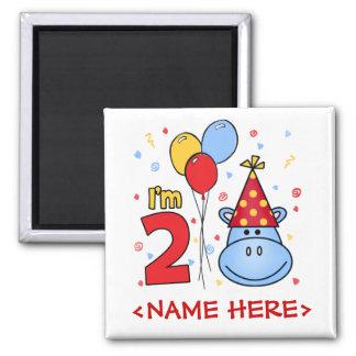 2do cumpleaños de la cara azul del hipopótamo imán cuadrado