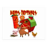 2do Cumpleaños de la granja del cumpleaños Tarjetas Postales