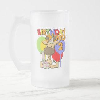 2do cumpleaños de la jirafa taza de cristal