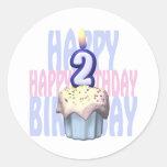 2do Cumpleaños de la magdalena del cumpleaños Pegatina Redonda