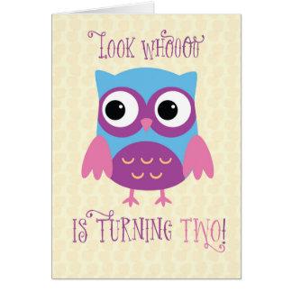 2do cumpleaños de la nieta, búho, rosa, púrpura tarjeta de felicitación