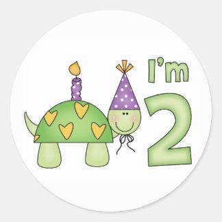 2do cumpleaños de la pequeña tortuga etiqueta redonda