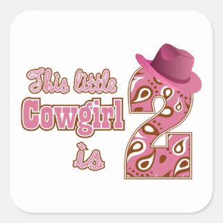 2do cumpleaños de la pequeña vaquera calcomanias cuadradas