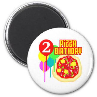 2do Cumpleaños de la pizza del cumpleaños Imán Redondo 5 Cm