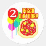 2do Cumpleaños de la pizza del cumpleaños Pegatina Redonda