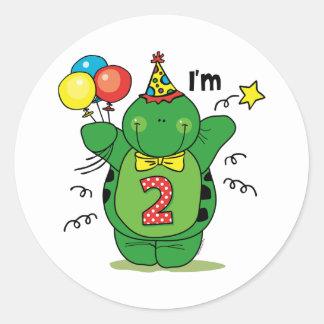 2do cumpleaños de la tortuga feliz etiqueta redonda