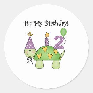 2do cumpleaños de la tortuga etiqueta redonda
