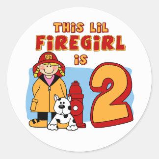 2do cumpleaños de Lil Firegirl Etiqueta Redonda