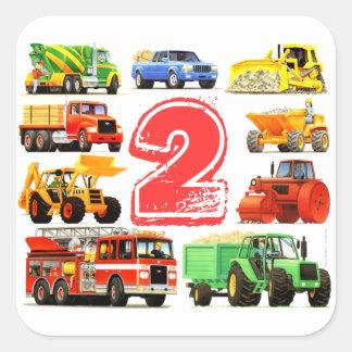 2do cumpleaños de los camiones grandes calcomanías cuadradass personalizadas