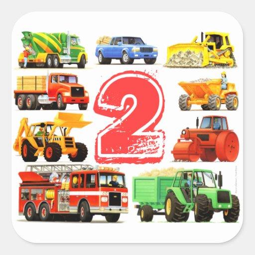 2do cumpleaños de los camiones grandes calcomanías cuadradases