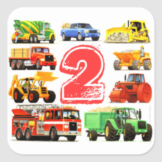 2do cumpleaños de los camiones grandes pegatina cuadrada