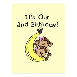 2do cumpleaños de los chicas de los monos gemelos  postales