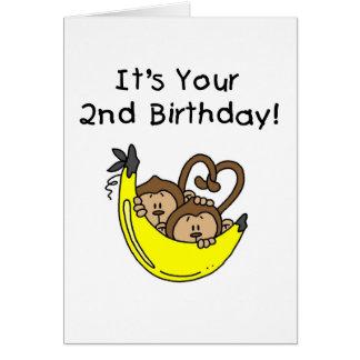 2do cumpleaños de los monos gemelos del muchacho tarjeta de felicitación
