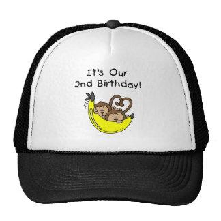 2do cumpleaños de los muchachos del mono gemelo de gorros