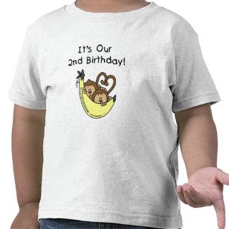 2do cumpleaños de los muchachos del mono gemelo de camiseta