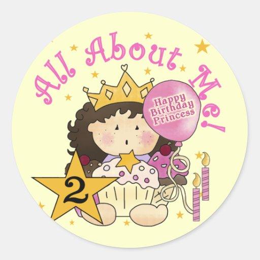 2do cumpleaños de princesa All About Me Pegatina Redonda