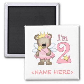 2do cumpleaños de princesa Bear Imán Cuadrado