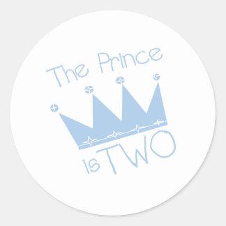 2do cumpleaños de príncipe Crown Pegatina Redonda