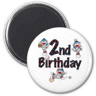 2do Cumpleaños del béisbol del mono del calcetín Imán Redondo 5 Cm
