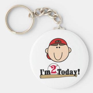 2do cumpleaños del béisbol trigueno del muchacho llavero redondo tipo pin